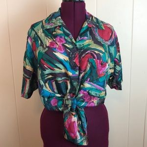 Vintage 80s/90s Abstract Print Button Down Blouse